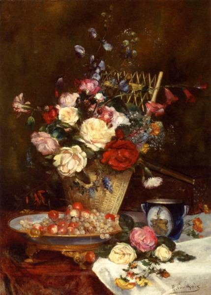 Still Life With Roses Cherries And Grapes